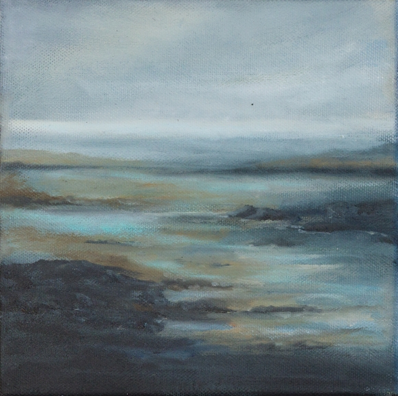 small blue oil landscape of inlet near glandore west cork rocks water bright blue and dark grey