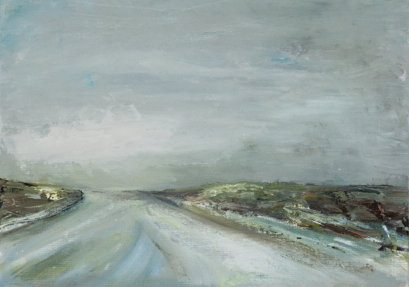 framed oil on board of irish landscape roadway near skibereen west cork, grey road, grey sky thick paint expressionist