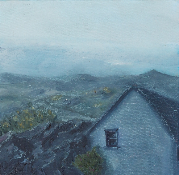 small oil landscape of house in inchigeela west cork, rock headlands grey irish cottage moody dark