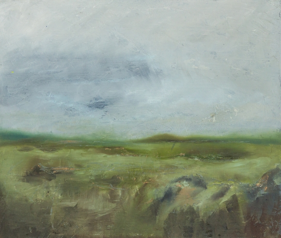 irish oil landscape of inchigeelagh west cork thick paint blue grey sky green and rocky landscape