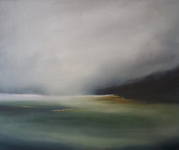 framed oil on canvas of the warren beach rosscarbery west cork, misty sky and headland grey black green white ochre