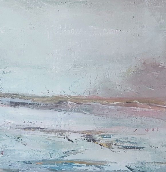 expressionist oil landscape of west cork scene greys pinks blues