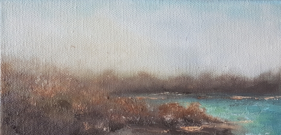 small irish expressionist oil landscape of lake shore and winter foliage near drinagh cork