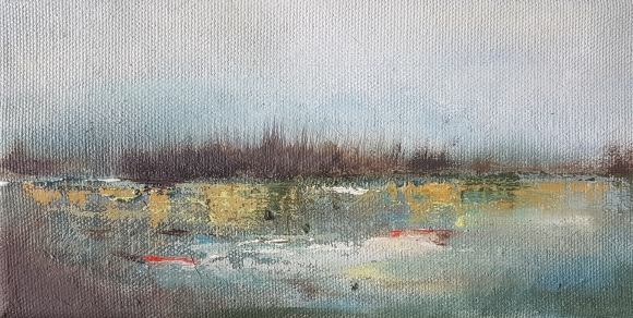 small irish expressionist landscape in oils of reeds near a lake in skibbereen