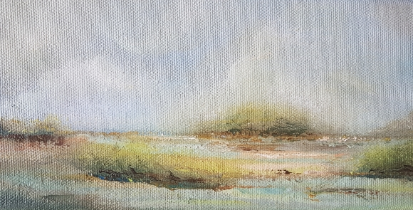 small irish expressionist landscape of reedy beach near long strand rathbarry