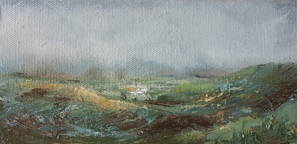 small irish expressionist landscape in oils of green land and grey sky