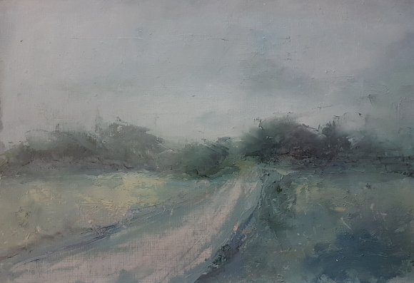 mounted oil on paper irish west cork landscape of grey road and dark trees moody sky