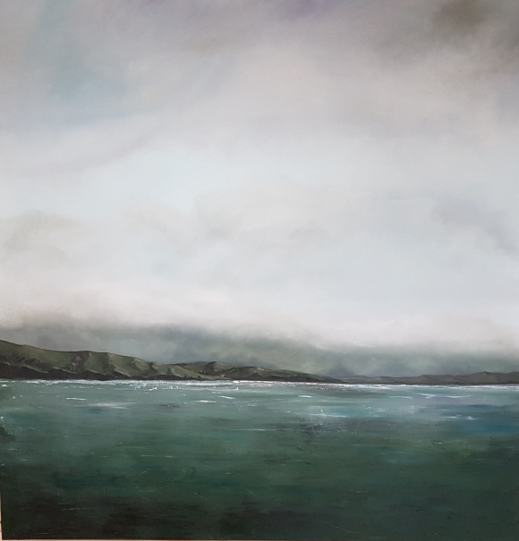 large oil landscape near inchidoney west cork, seas headland and cloudy sky blues greens greys