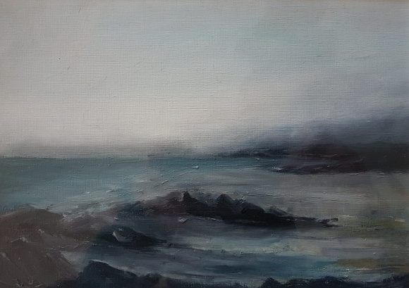 irish west cork landscape of sea meeting shore greys greens moody sky mounted oil on paper landscape