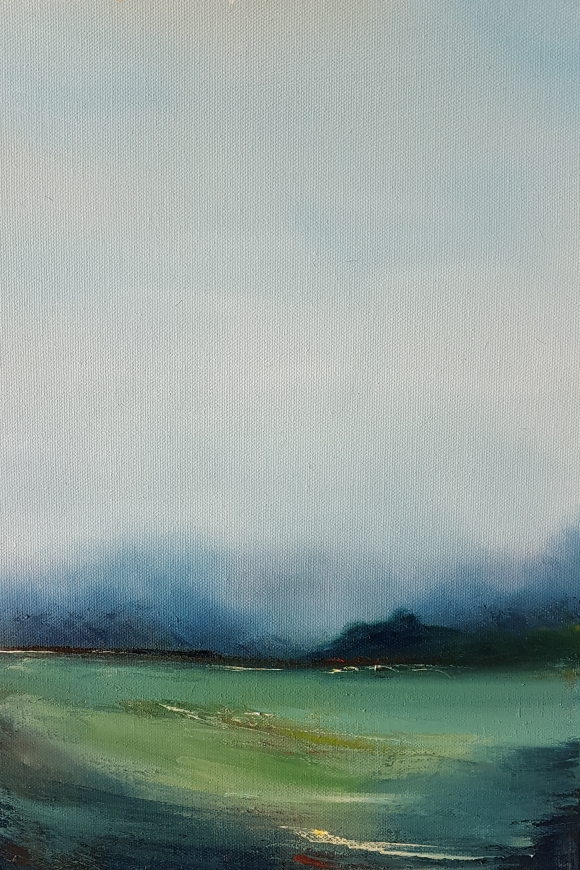 irish oil of west cork landscape blue sky misty trees expressionist foreground
