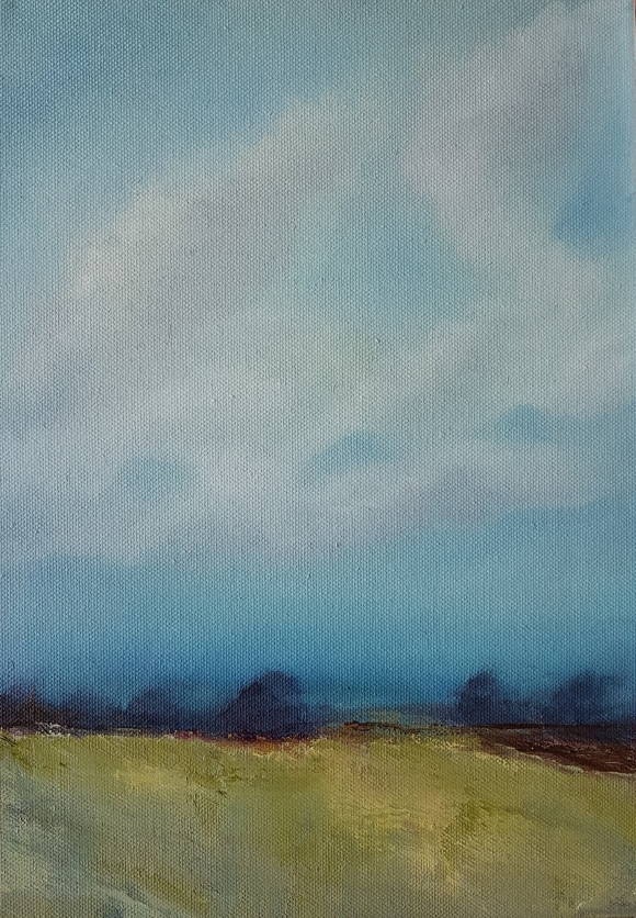 irish landscape in oils of west cork blue sky trees wheat field