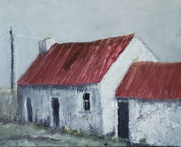 irish landscape in oils of cottage red roof