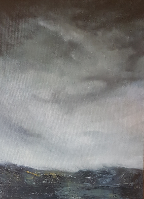 irish landscape in oils of grey headland moody black stormy sky