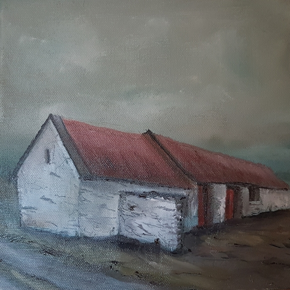 irish cottage in oils of west cork red roof grey sky