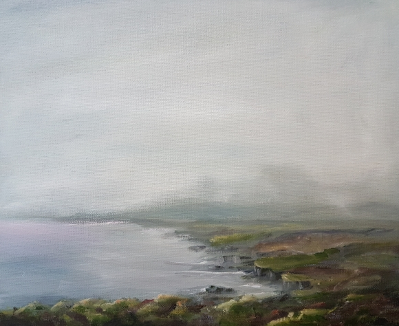 irish west cork landscape in oils of water headland grey sky