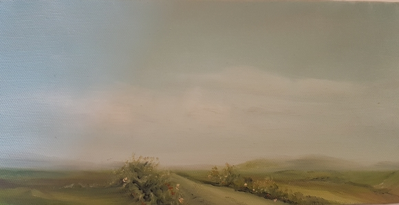 irish landscape in oils of road in west cork on top of hill grey sky green fields flowers