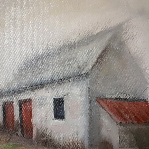 small oil on canvas, farm building, white cow shed, 2 cadmium red doors and 1`red corrugated roof, misty roof, single window, white, grey, cadmium red, umber, ochre