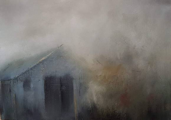 small oil on canvas, misty clouds decend over a grey farm building with one window and a double grey door. grey, ochre, cadmium red, blue