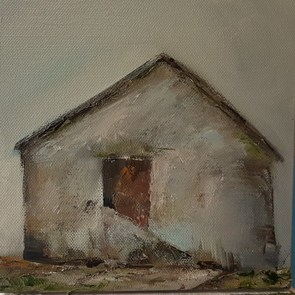 small oil on canvas, farm building with steps up to red door, apex roof. ochre, cadmium red, blue, green, umber