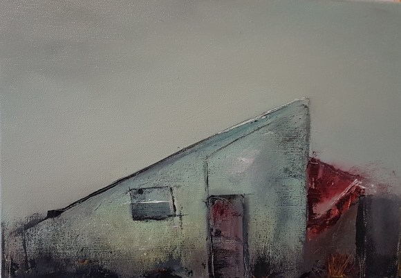 small oil on canvas, farm building right angle pointed roof, single window, red door, broken red corrugated roof, grey sky, grey, cadmium red, green blue, umber, ochre