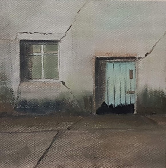 small oil on canvas, single four pane window, broken jagged blue door, grey concrete foreground, building cracks, grey, aqua blue, ochre, umber